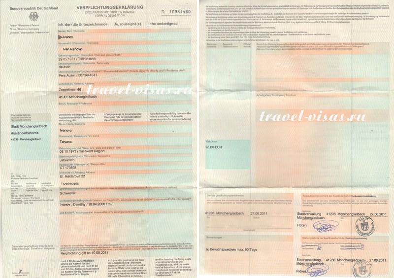 Приглашение на гостевую визу в германию оформление