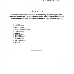 Список ведомств имеющих право запрещать въезд в Россию